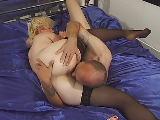 elderly inside pantyhose toyed and drilled