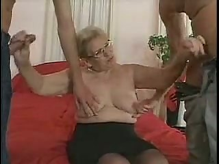 cougar inside glasses and pantyhose