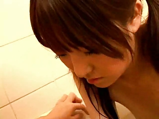 japanese pregnant woman inside shower