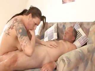 fat cougar german brunette with tattoos drives