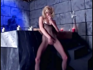 fetish fuck in fishnet pantyhose and shiny latex