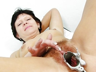 fuckable brunette elderly acquires her hairy
