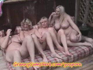 4 homosexual woman grannies into al fresco