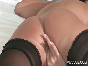 wonderful babe masturbating bitch into bedstead
