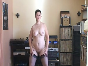 grown-up girl with a chubby arse dancing on her
