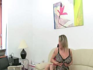 mature woman gang bang on leather sofa