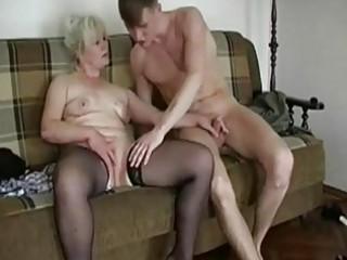 plump bleached old seduces a y...