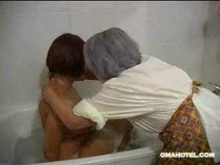 elderly bathing fresher girl