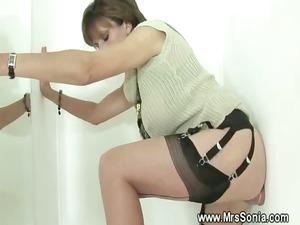 cuckold watches woman get it deep through