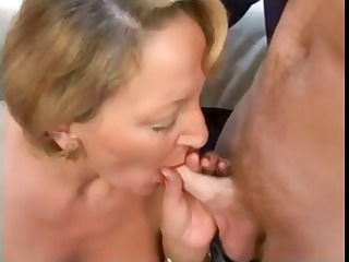 mature blond french babe trades head and bangs