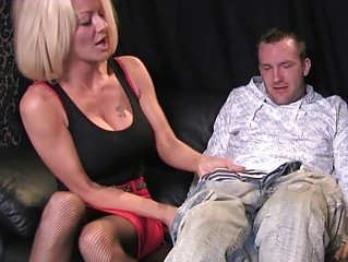 naughty blond woman inside mad mouth cfnm deed