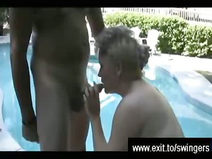 milf tracey with white cream boobs by swimming