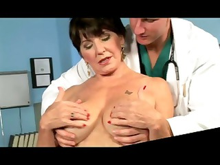 busty brunette old chews on his knob and fucks