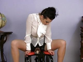 desperate lady dressing on satin copulates device