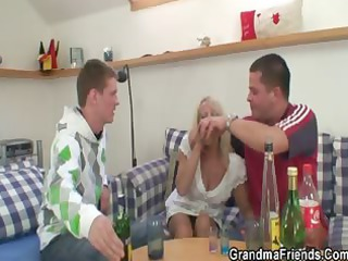 partying guys lure old into three people