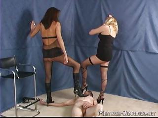 triple woman humiliate two males