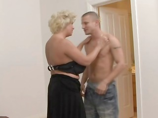 slutty blonde lady in stockings bangs
