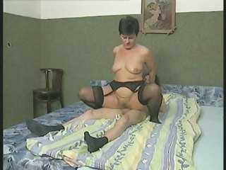 shaggy old into nylons bangs the male