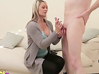 lady wanks and licks nude cfnm boy until he cums