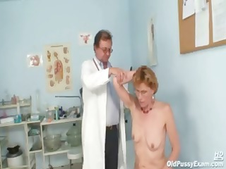 cougar chick mila goes for an exam and shows off