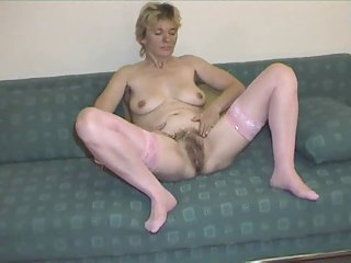 furry older  into reddish nylons gets nude