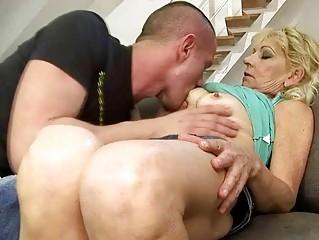 sweet grandma piercing with her inexperienced