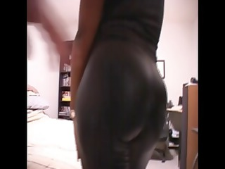ebony woman dressed inside latex obtains nude to