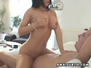 naughty young milf licks and bangs with sperm on