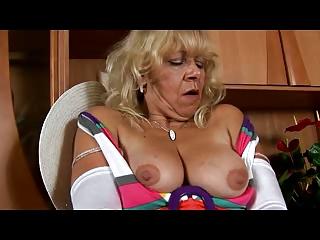 elderly inside ashen pantyhose teases with vagina
