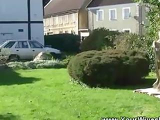 sunbathing granny blows man in yard