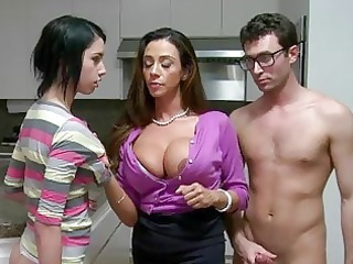 stepmom milf lets boy facial shoot his gf