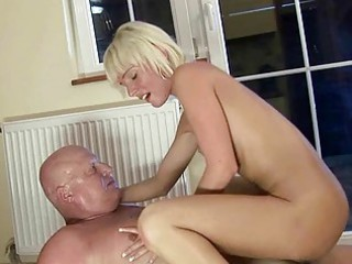 pretty young banging with chubby grandpa