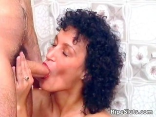 slutty grown-up brunette gets oral and juicy
