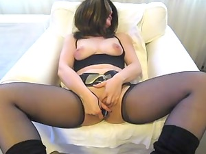 girl inside stockings pushing dildo