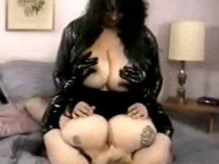 hugetitted bbw matures masturbating into leather