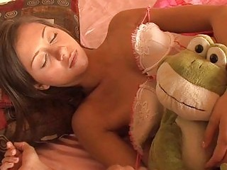 sleeping brunette teenage inside playing gstring