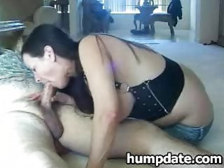 mature babe with huge tits gives cock sucking and