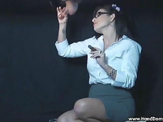 smoking femdom glory gap handjob by dominant woman