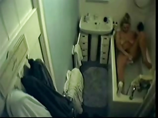 my sweet lady plays  into tub tube. hidden cam