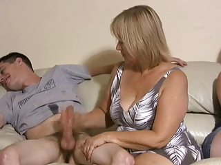 mother and daughter jerking two fuckers off