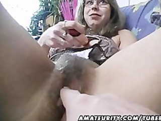furry amateur lady toys and drives a penis with