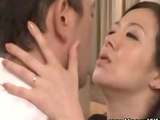 grownup eastern  milf kissing with voyeur