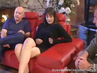 hubby leabes during  his swinger lady screws a