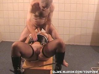 slave woman marion dominated by two fuckers